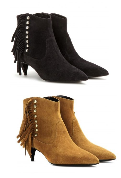 Saint Laurent Cat fringed black suede ankle boots available at MYTHERES.com
