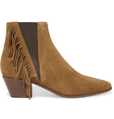 Saint Laurent fringed tan suede ankle boots available at NET-A-PORTER