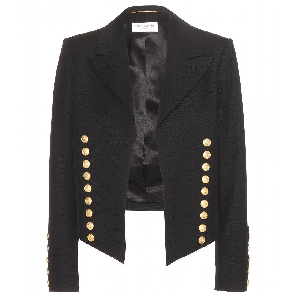 Het cropped black wool jacket with gold tone buttons is available at MYTHERESA.com
