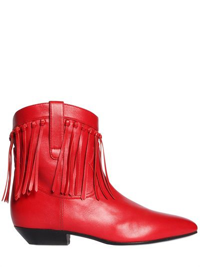 Saint Laurent red leather fringed boots available at LUISAVIAROMA.com