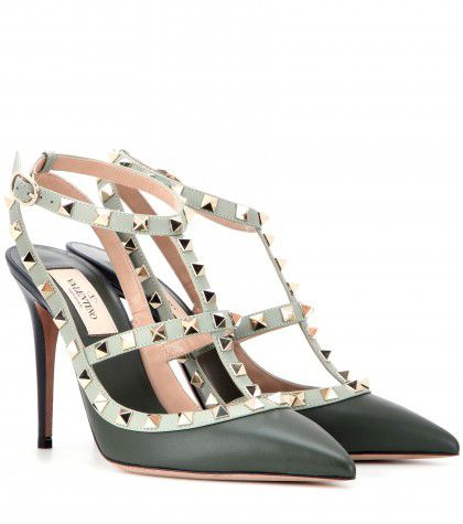Valentino Rockstud rich green leather with light green trim pumps available at MYTHERESA.com