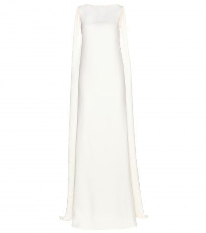 Valentino cape-style cream silk floor-length dress available at MYTHERESA.com