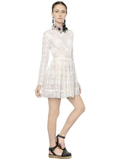Valentino cotton San Gallo lace dress available at LUISAVIAROMA.com