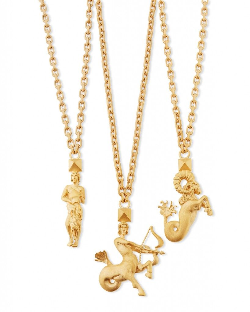 Valentino Golden Zodiac necklaces available at NEIMAN MARCUS
