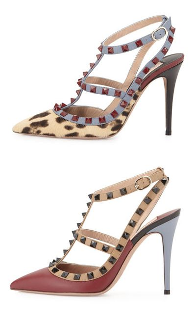 Valentino Lacquered Rockstud calf hair pump available at NEIMAN MARCUS