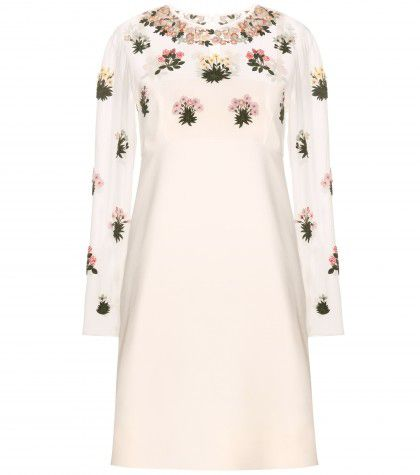 Valentino Pre-Fall 2015 floral embellished cream silk dress available at MYTHERESA.com