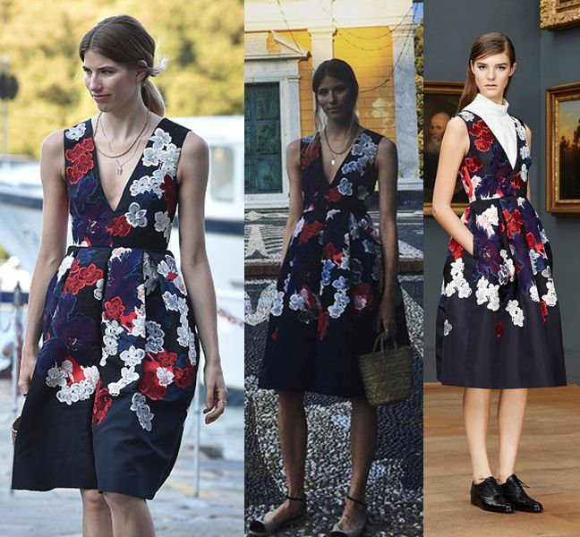 Veronika Heilbrunner wearing Erdem Pre-Fall 2015 while attending Dolce & Gabbana Alta Moda Fall2015 fashion show in Portofino