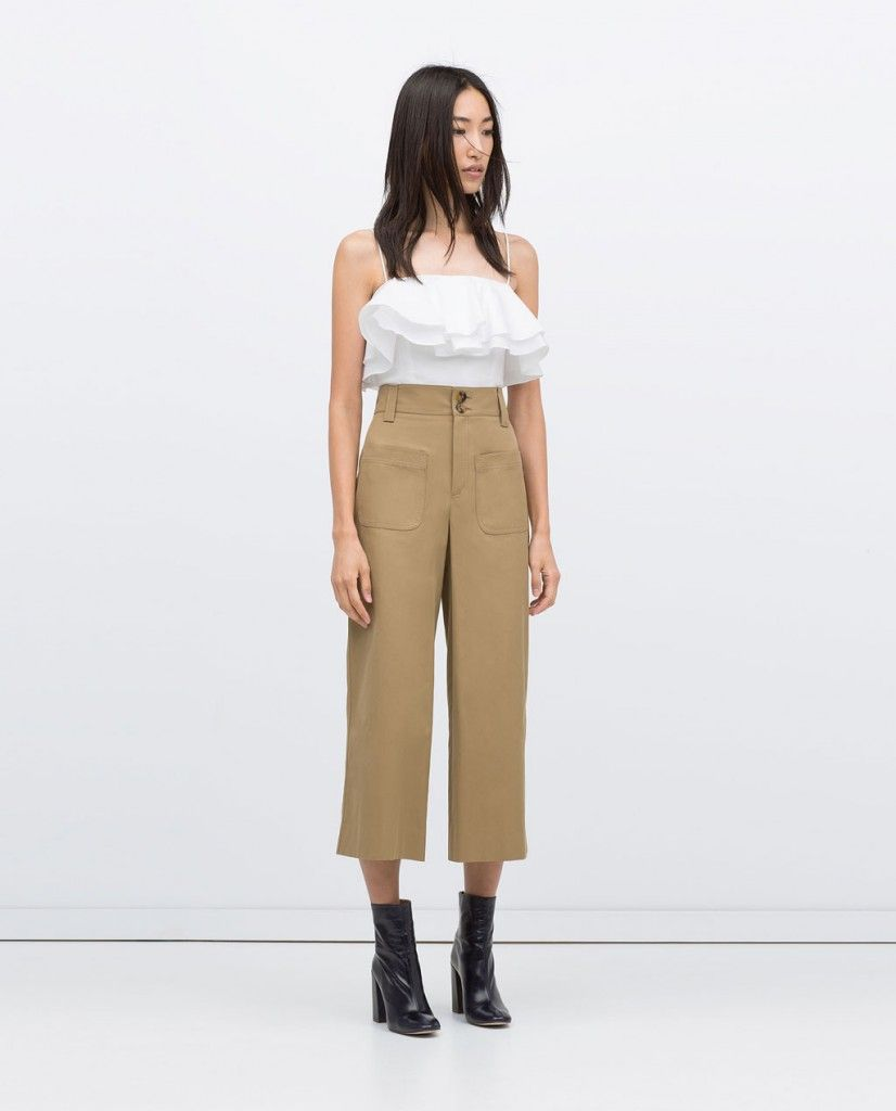 Zara cropped khaki pants
