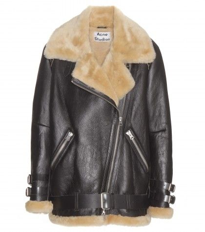 Acne Studios Velocite oversized shearling-lined leather biker jacket available at mYTHERESA.com and MATCHESFASHION.com