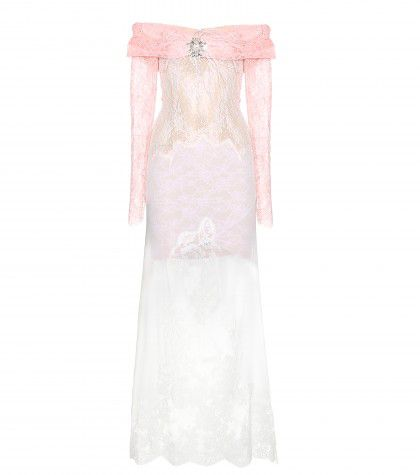 This similar peachy pink and pretty lilac lace and sheer feather-embellished dress is available at MYTHERESA.com
