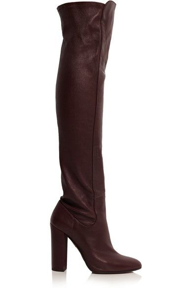 Aquazzura Kensington prune stretch-leather boots available at NET-A-PORTER