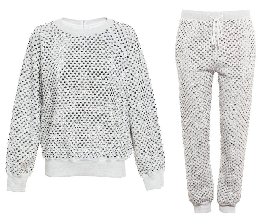 Ashish studded jumper available at BRWONS FASHION and matching joggers available at BROWNS FASHION