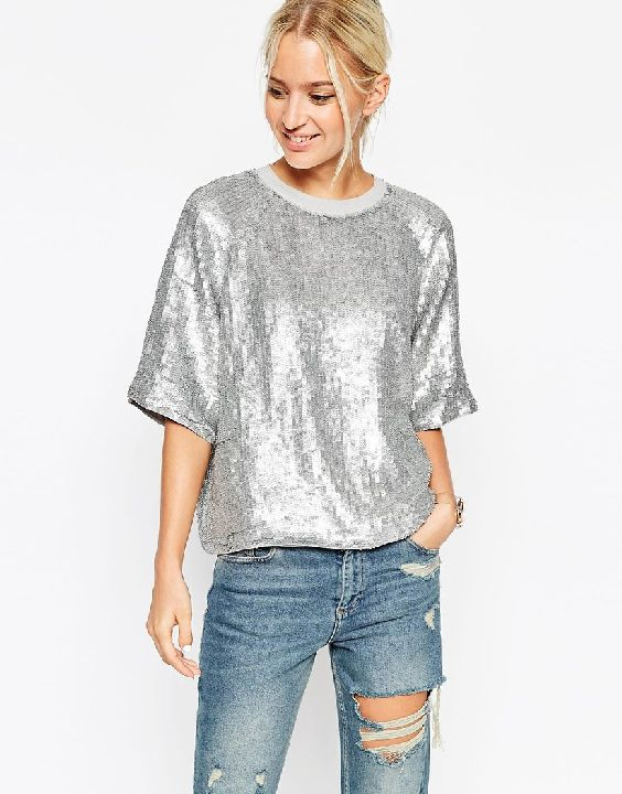 Asos silver glitter sweatshirt available at ASOS