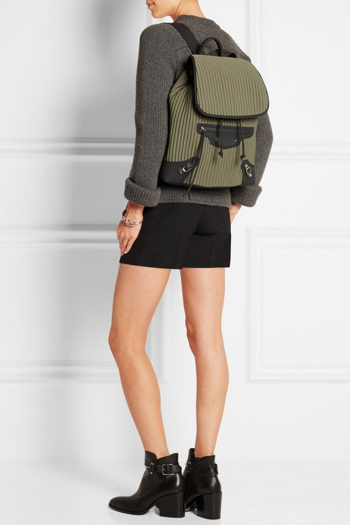 Balenciaga Giant TRaveller black leather trimmed army-green neoprene backpack available at NET-A-PORTER