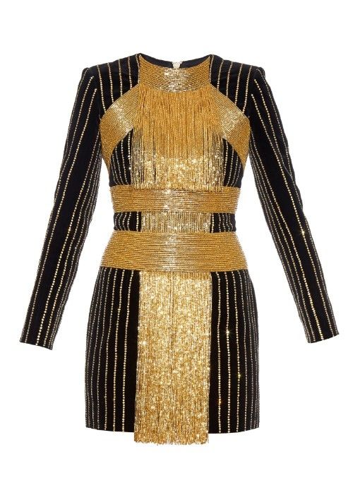 Balmain embellished velvet dress available at MATCHESFASHIONcom