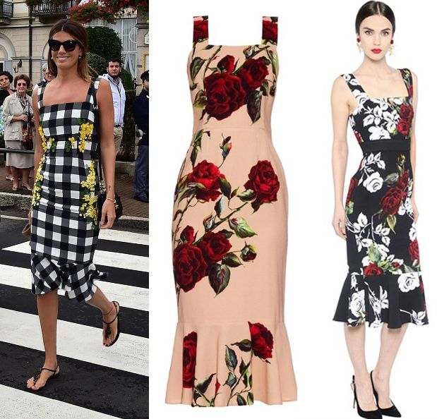 Bianca Brandolini d'Adda wore a Dolce & Gabbana floral print fluted cady dress. You can get a similar one by MATCHESFASHION.com and LUISAVIAROMA.com