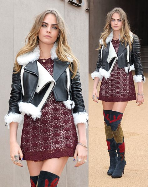 Cara Delevingne attends the Burberry Prosum show during London Fashion Week Fall/Winter 2015/16 at perk's Field on February 23, 2015 in London, England.