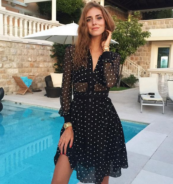 Chiara Ferragni out and about Dubrovnik, Croatia, wearinga  Givencgy mini crosses printed dress from Riccardo Risci's Pre-Fall 2015 collection