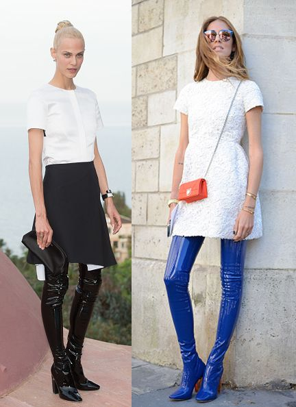 Dior over-the-knee boots worn by Aymelina Valade and Chiara Ferragni