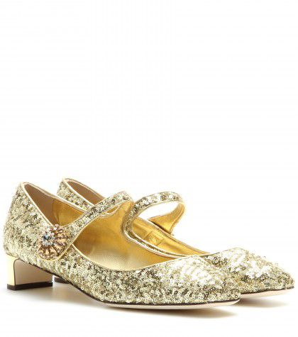 Dolce & Gabbana glitter-embellished Mary Jane pumps available at MYTHERESA.com