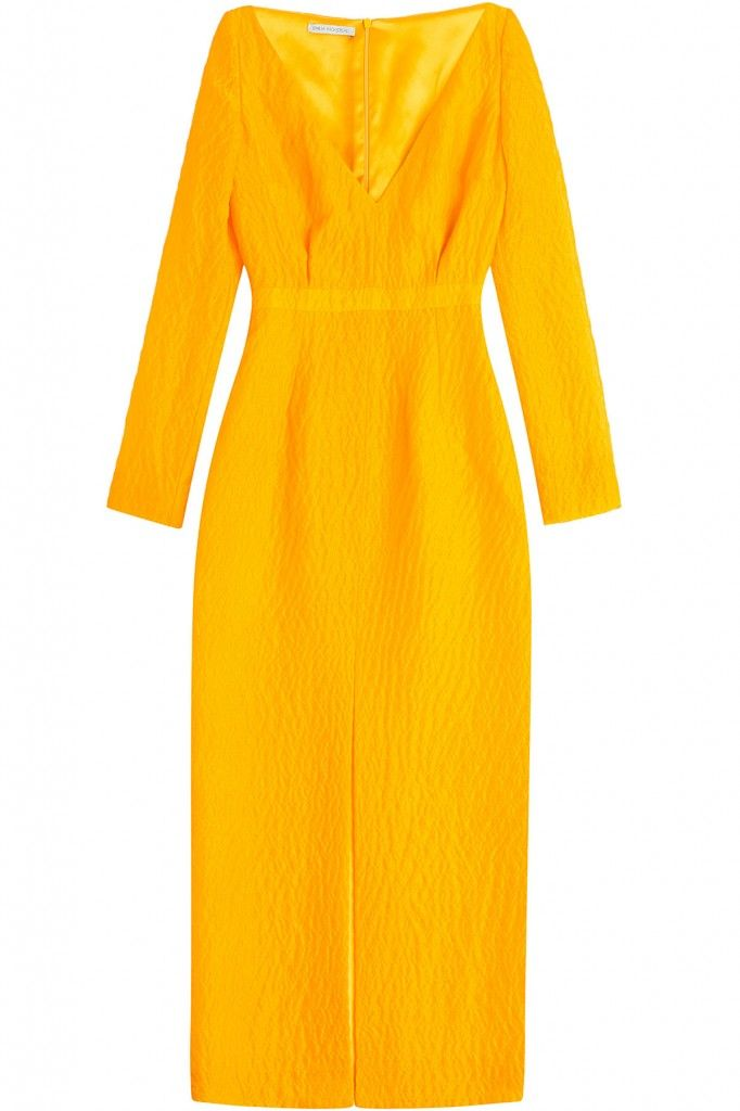 Gigi's Emilia Wickstead golden yellow silk crepe dress is available at STYLEBOP.com