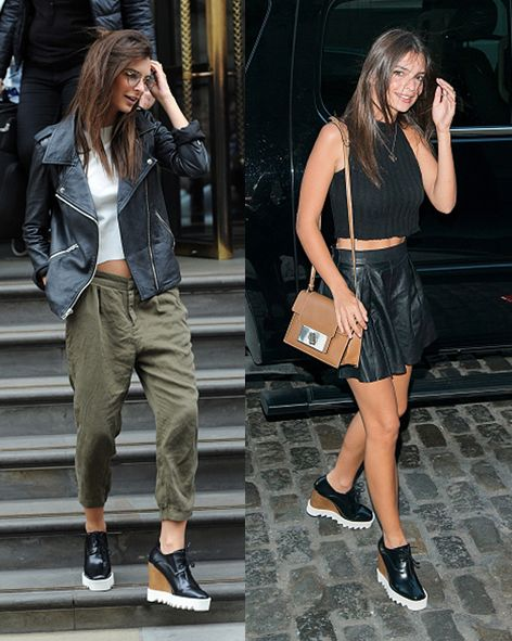 Emily Ratajkowski wearing her favourite Stella McCartney wedge boots while out in London and New York.
