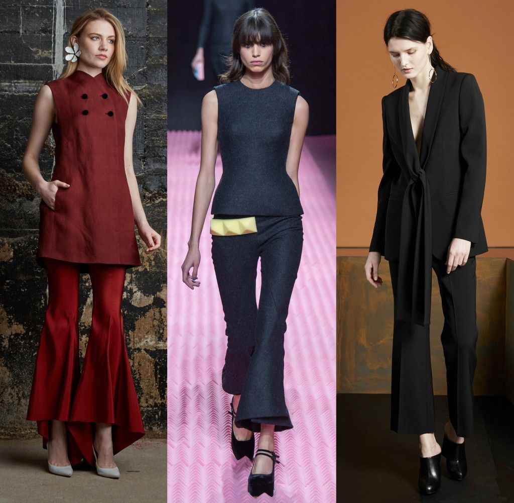 Rosie Assoulin, Mary Katrantzou and Stella McCartney fall Winter 2015 cropped kick flares and bell bottom trousers