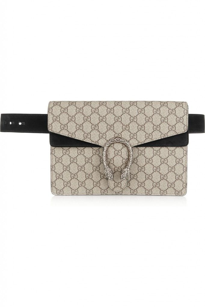 Gucci Dionysus coated canvas and black suede belt bag available at NET-A-PORTER
