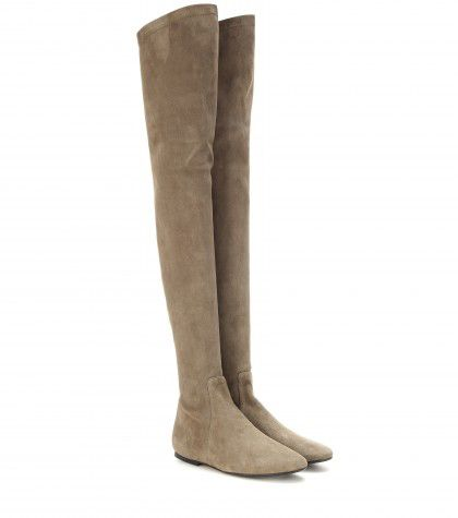 "Isabel Marant ""Brenna"" soft taupe suede over-the-knee boots available at MYTHERESA.com"