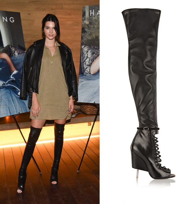 Kendall Jenner's Givenchy black leather high-thigh boots are available at NET-A-PORTER
