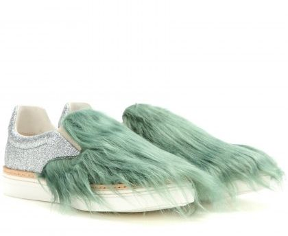 Maison margiela faux-fur embellished glitter slip-on sneakers available at MYTHERESA.com