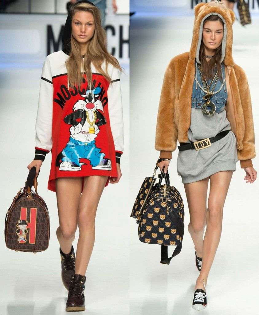 Moschino FW15 Looney Tunes and Teddy Bear printed weekend bags