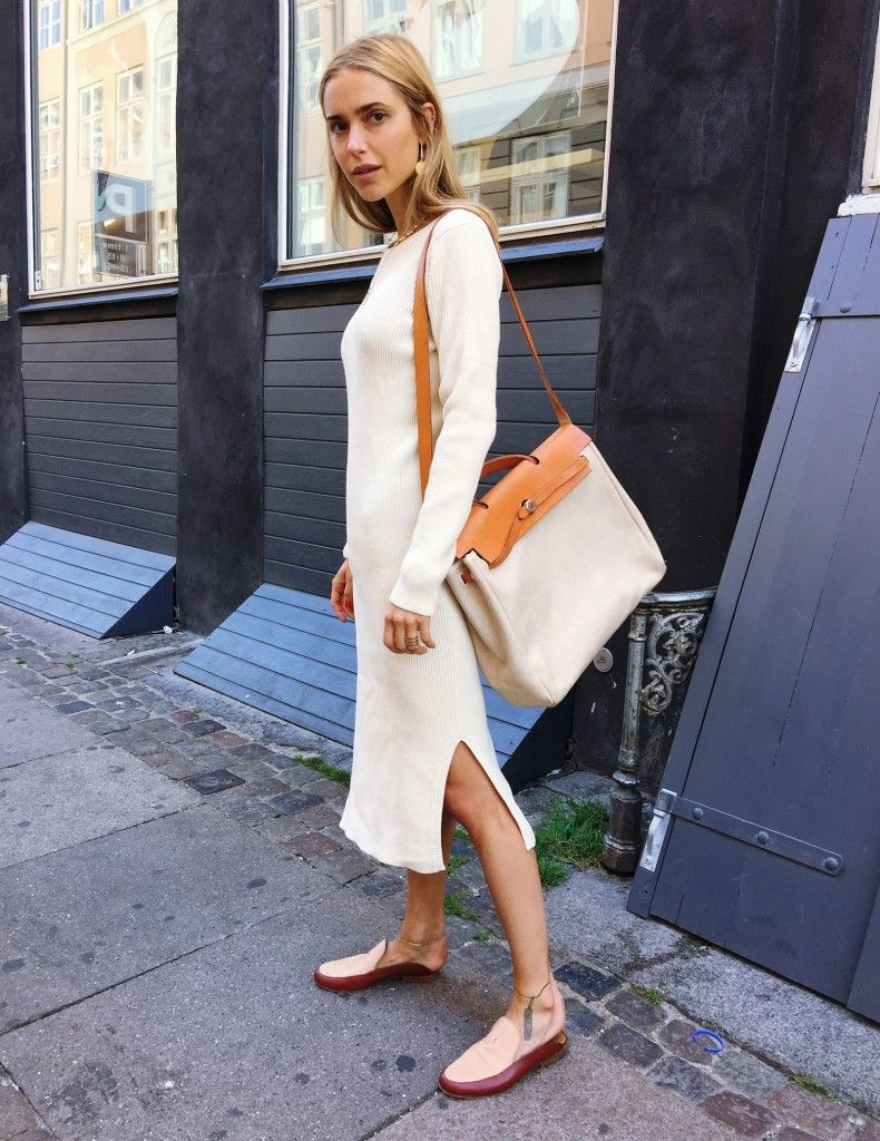 Pernille Teisbaek of Look de Pernille wearing a Ganni dress fro Copenhagen Fashion Week