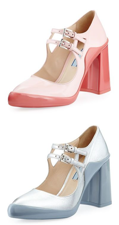 Prada FW15 pink double-buckle Mary Jane pumps availabel at NEIMAN MARCUS