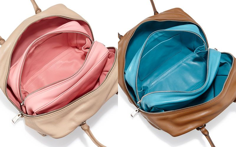 Prada Inside soft leather bag tan/turquoise available at NEIMAN MARCUS