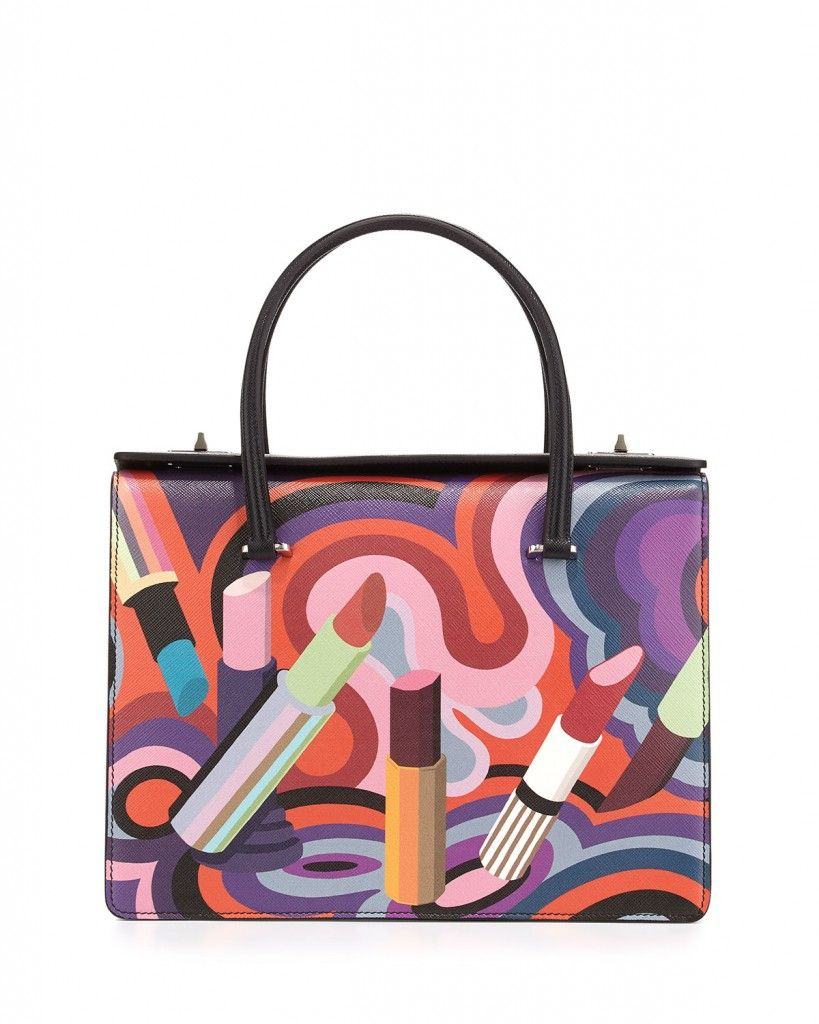 Prada lipstick-print saffiano leather tote bag available at BERGDORF GOODMAN
