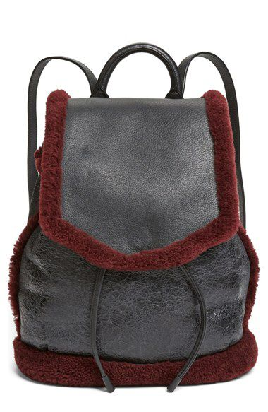 Rag & Bone Pilot genine bordeaux shearling and black leather backpack available at NORDSTROM.com