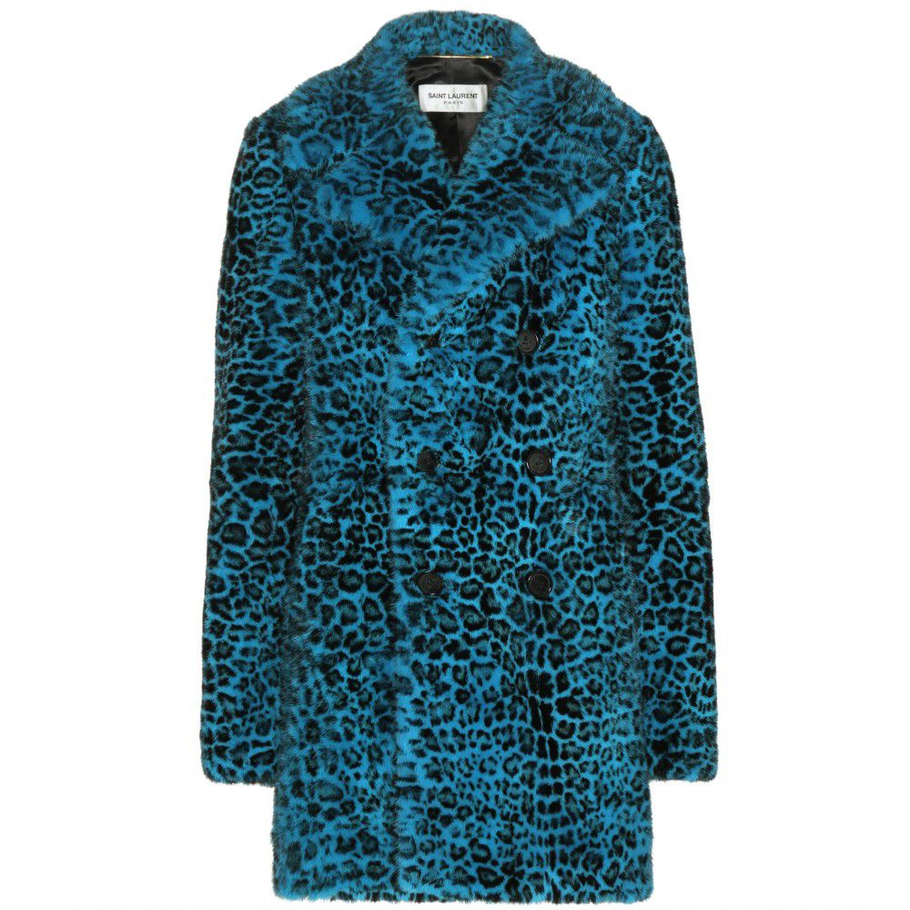 Saint Laurent leopard-print turquoise mink fur coat available at MYTHERESA.com