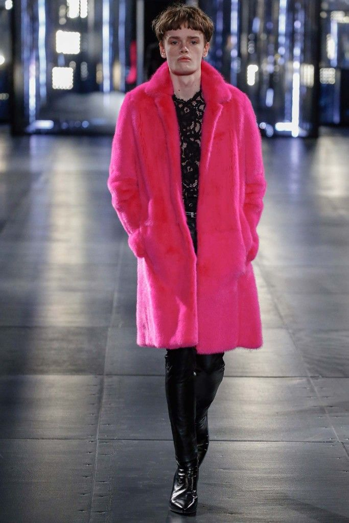 Saint Laurent fuchsia mink fur coat available at MYTHERESA