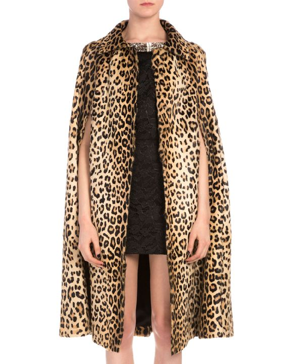 Saint Laurent leopard-print goat hair cape coat available at NEIMAN MARCUS