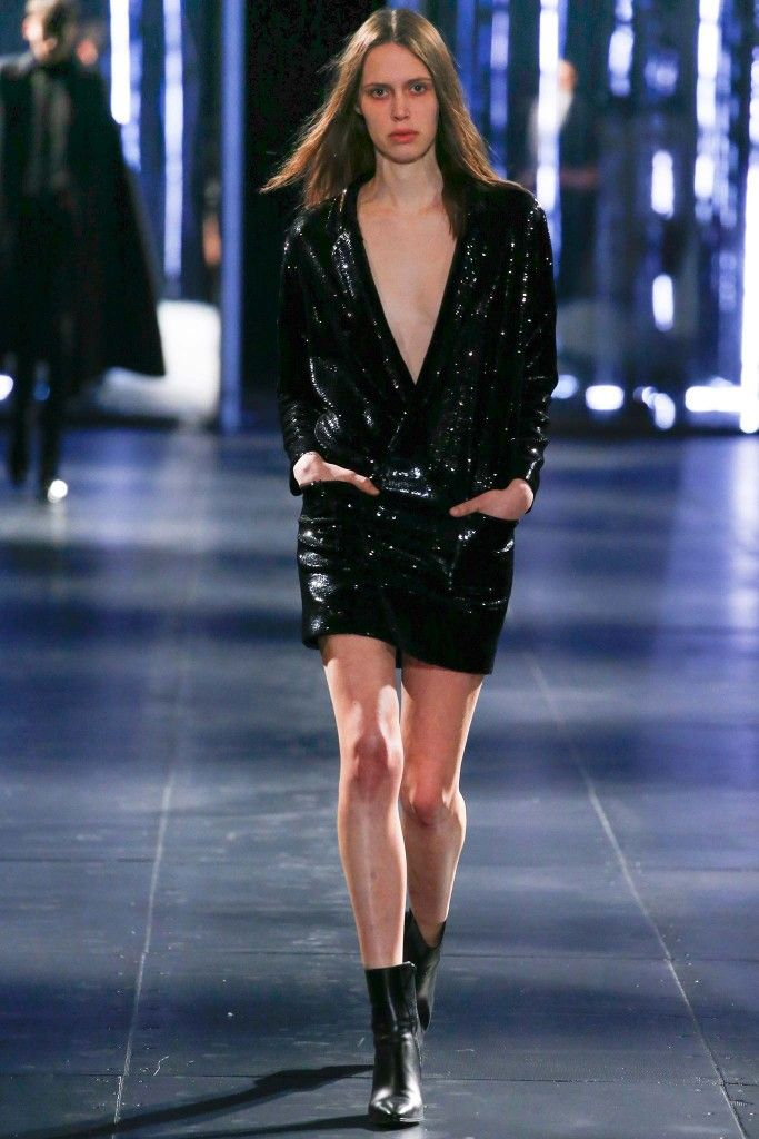 Saint Laurent tuxed-inspired sequined crepe mini dress available at NET-A-PORTER