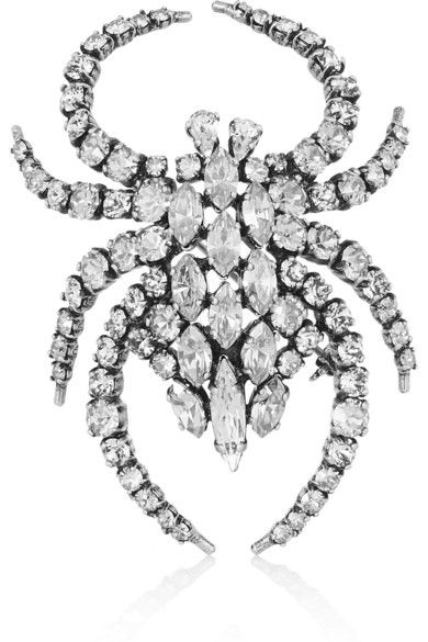 LAIA'S PICK: Saint Laurent silver-plated crystal spider brooch aviailable at NET-A-PORTER