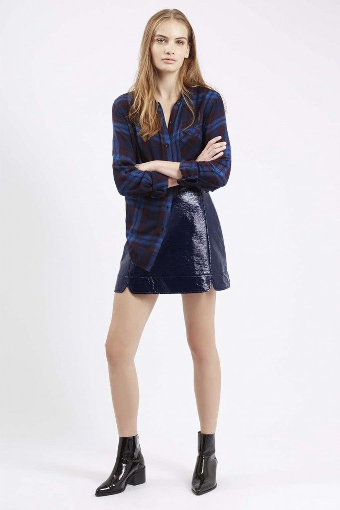 TopShop A-line vinyl mini skirt available HERE
