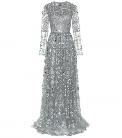 Valentino sheer grey gown embellished with crystals available at MYTHERESA.com