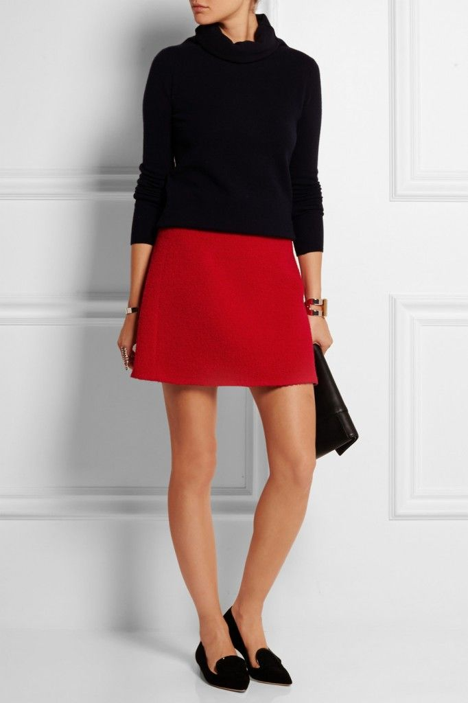 Victoria, Victoria Beckham red wool-blend bouclé A-line mini skirt available at NET-A-PORTER