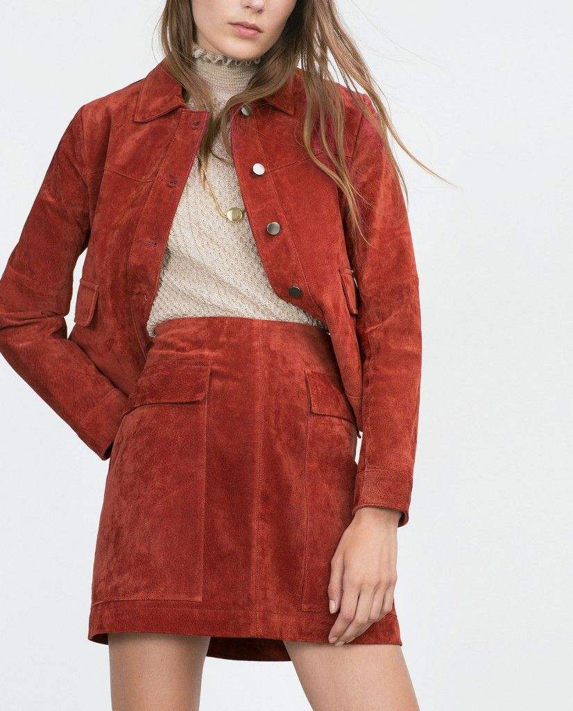 Zara dark red suede A-line miniskirt and matching jacket