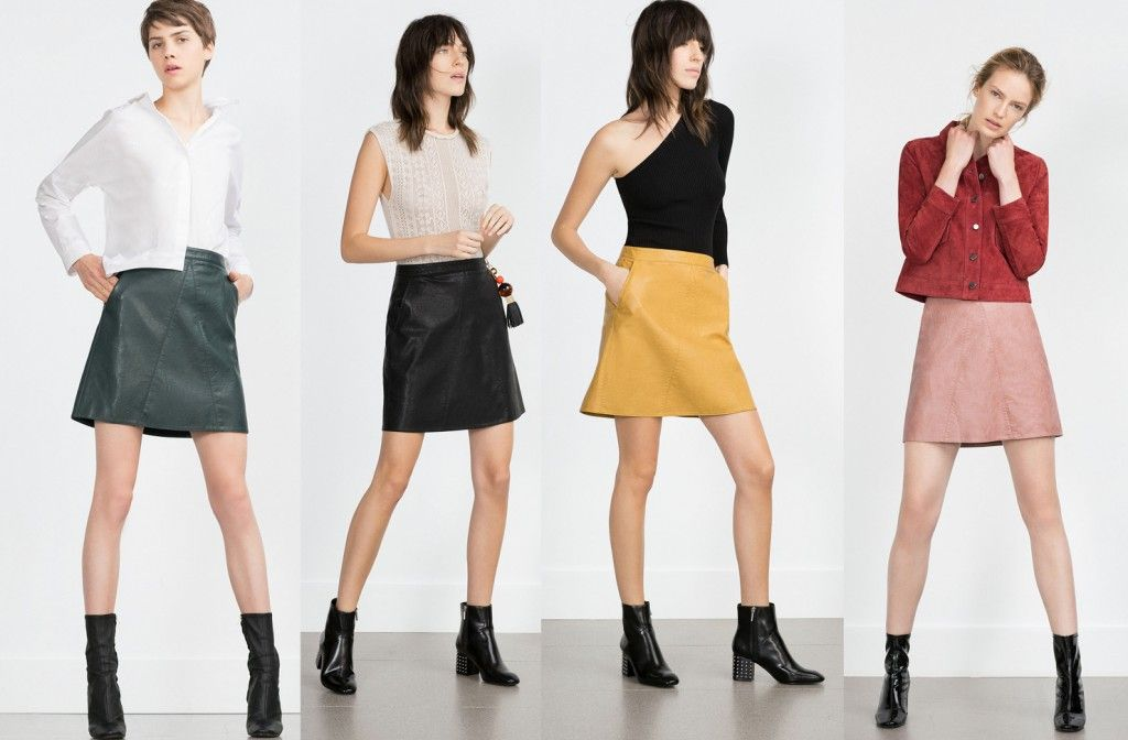 Zara faux leather A-line miniskirts