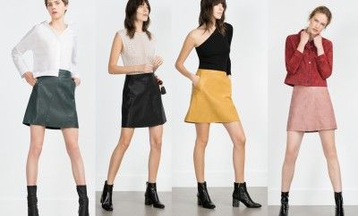 Zara faux leather A.line miniskirts