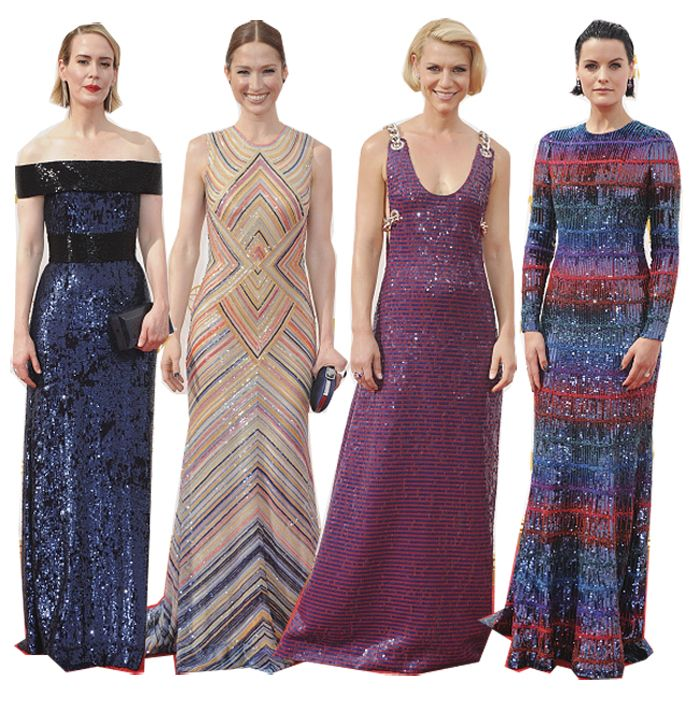 Seuined gowns: Sarah Paulson in Parabal Gurung, Claire Danes in Prada and Jaimie Alexander in Giorgio Armani