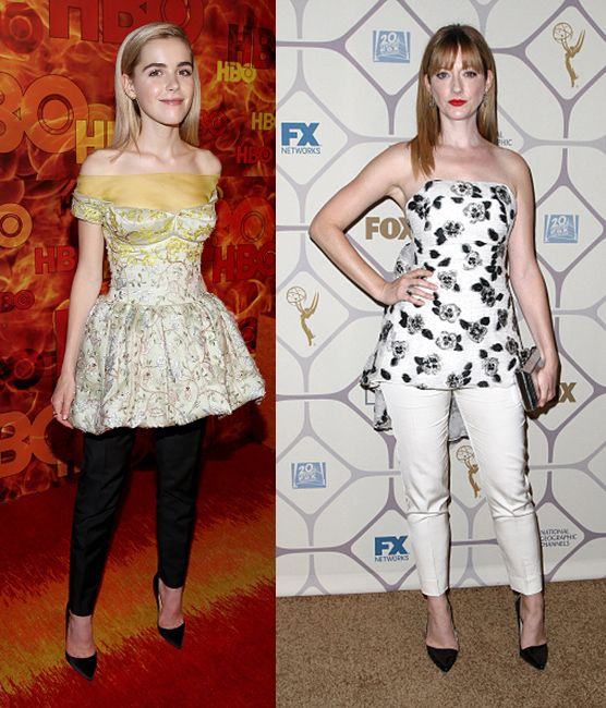Left, dress over pants done right (Kiernan Shipka in Dior); right, dress over pants gone wrong